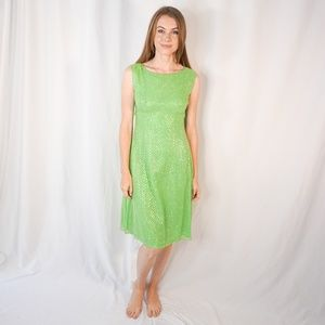 VINTAGE Green Silver Dot Glitter Mini Dress 50s XS